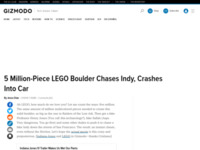 Lego: 5 Million-Piece LEGO Boulder Chases Indy, Crashes Into Car