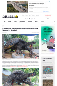 http://www.thisiscolossal.com/2014/07/a-towering-turtle-of-discarded-industrial-junk-welded-by-ono-gaf/