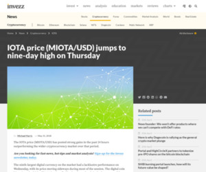 IOTA price (MIOTA/USD) jumps to nine-day high on Thursday | Invezz