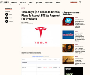 Tesla Buys $1.5 Billion In Bitcoin, Plans To Accept BTC As Payment For Products | Futures