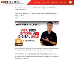 Visa Sees Bitcoin as Digital Gold | This Week in Crypto - May 3, 2021