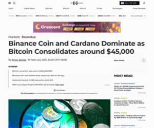Binance Coin and Cardano Dominate as Bitcoin Consolidates around $45,000 - BeInCrypto