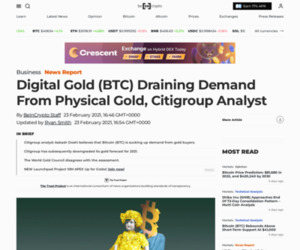 Digital Gold (BTC) Draining Demand From Physical Gold, Citigroup Analyst