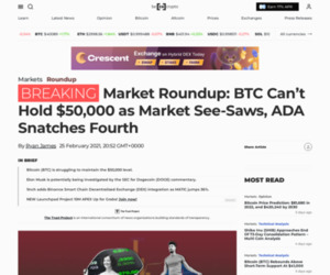 Market Roundup: BTC Can't Hold $50,000 as Market See-Saws, ADA Snatches Fourth