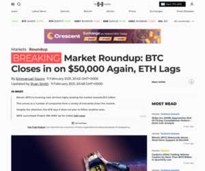 Market Roundup: BTC Closes in on $50,000 Again, ETH Lags - BeInCrypto