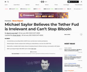 Michael Saylor Believes the Tether Fud is Irrelevant and Can't Stop Bitcoin