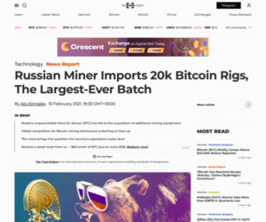 Russian Miner Imports 20k Bitcoin Rigs, The Largest-Ever Batch