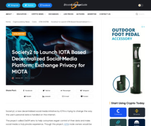 Society2 to Launch IOTA Based Decentralized Social Media Platform; Exchange Privacy for MIOTA | BitcoinExchangeGuide