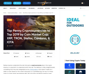 Top Penny Cryptocurrencies to Top 2019 by Coin Market Cap: XRP, TRON, Stellar, Cardano, & IOTA
