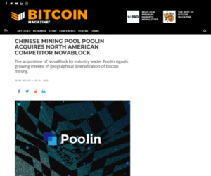 Poolin Acquires NovaBlock Mining Pool – Bitcoin Magazine