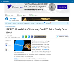 12K BTC Moved Out of Coinbase, Can BTC Price Finally Cross $60k?