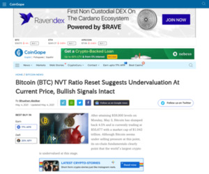 Bitcoin (BTC) NVT Ratio Reset Suggests Undervaluation At Current Price, Bullish Signals Intact