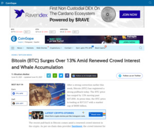 Bitcoin (BTC) Surges Over 13% Amid Renewed Crowd Interest and Whale Accumulation