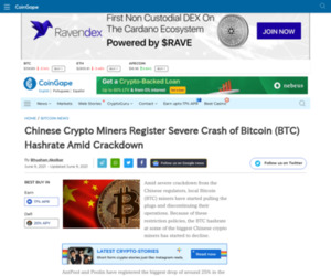 Chinese Crypto Miners Register Severe Crash of Bitcoin (BTC) Hashrate Amid Crackdown