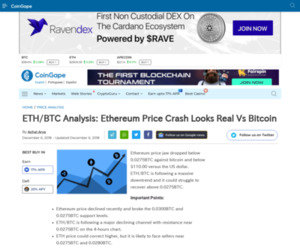 ETH/BTC Analysis: Ethereum Price Crash Looks Real Vs Bitcoin