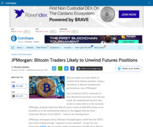 JPMorgan: Bitcoin Traders Likely to Unwind Futures Positions