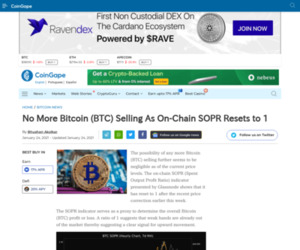 No More Bitcoin (BTC) Selling As On-Chain SOPR Resets to 1