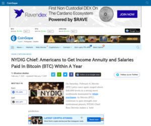 NYDIG Chief: Americans to Get Income Annuity and Salaries Paid In Bitcoin (BTC) Within A Year