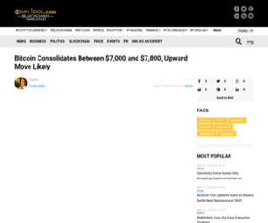 Bitcoin Consolidates Between $7,000 and $7,800, Upward Move Likely