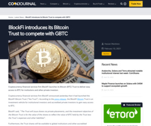 BlockFi's Bitcoin Trust to compete with GBTC | CoinJournal.net