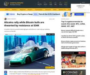 Altcoins rally while Bitcoin bulls are thwarted by resistance at $34K