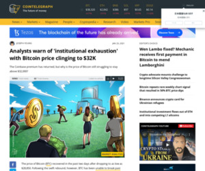 Analysts warn of 'institutional exhaustion' with Bitcoin price clinging to $32K