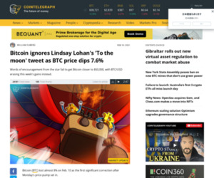 Bitcoin ignores Lindsay Lohan's 'To the moon' tweet as BTC price dips 7.6%