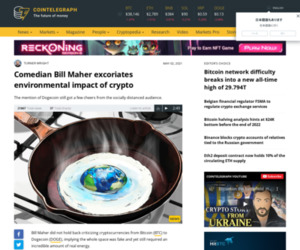 Comedian Bill Maher excoriates environmental impact of crypto