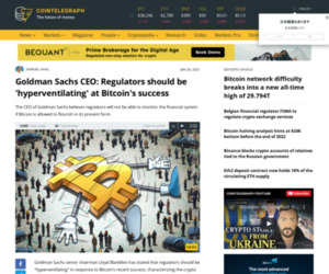 Goldman Sachs CEO: Regulators should be 'hyperventilating' at Bitcoin's success