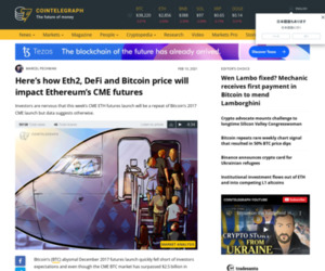 Here's how Eth2, DeFi and Bitcoin price will impact Ethereum's CME futures