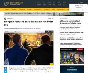 Morgan Creek and Exos file Bitcoin fund with SEC