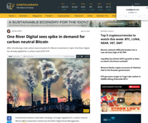 One River Digital sees spike in demand for carbon neutral Bitcoin