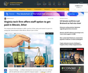 Virginia tech firm offers staff option to get paid in Bitcoin, Ether