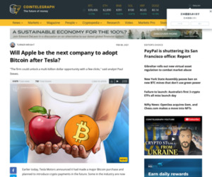 Will Apple be the next company to adopt Bitcoin after Tesla?