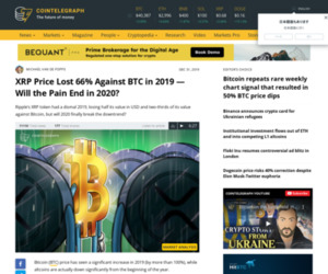 XRP Price Lost 66% Against BTC in 2019 — Will the Pain End in 2020?