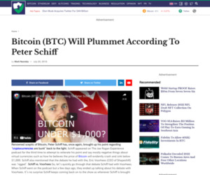 Bitcoin (BTC) Will Plummet According To Peter Schiff - Crypto Daily™