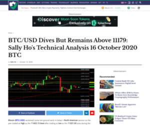 BTC/USD Dives But Remains Above 11179:  Sally Ho's Technical Analysis 16 October 2020 BTC - Crypto Daily™