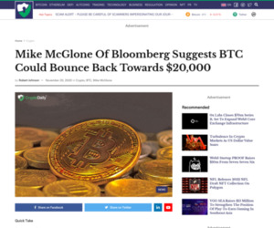 Mike McGlone of Bloomberg suggests BTC could bounce back towards $20,000 | bitcoin | bitcoin news | crypto news - Crypto Daily™