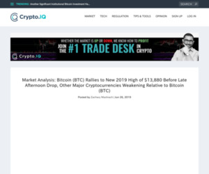 Market Analysis: Bitcoin (BTC) Rallies to New 2019 High of $13,880 Before Late Afternoon Drop, Other Major Cryptocurrencies Weakening Relative to Bitcoin (BTC) – Crypto.IQ | Bitcoin and Investment News from Inside Experts You Can Trust