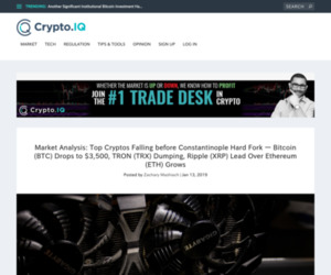 Market Analysis: Top Cryptos Falling before Constantinople Hard Fork — Bitcoin (BTC) Drops to $3,500, TRON (TRX) Dumping, Ripple (XRP) Lead Over Ethereum (ETH) Grows – Crypto.IQ | Bitcoin and Investment News from Inside Experts You Can Trust