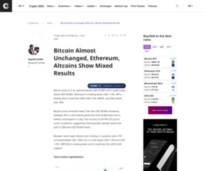 Bitcoin Almost Unchanged, Ethereum, Altcoins Show Mixed Results