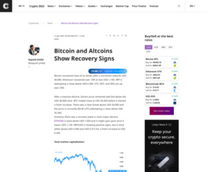 Bitcoin and Altcoins Show Recovery Signs