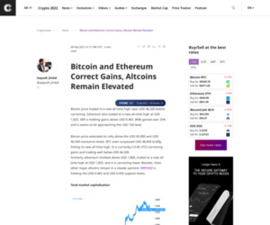 Bitcoin and Ethereum Correct Gains, Altcoins Remain Elevated