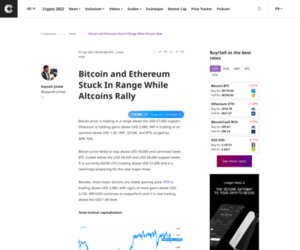 Bitcoin and Ethereum Stuck In Range While Altcoins Rally