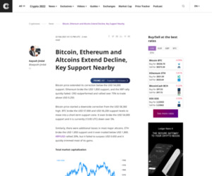 Bitcoin, Ethereum and Altcoins Extend Decline, Key Support Nearby