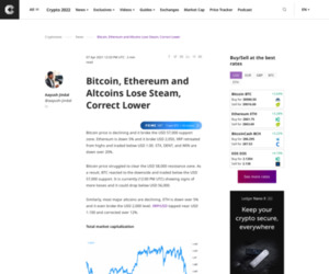 Bitcoin, Ethereum and Altcoins Lose Steam, Correct Lower