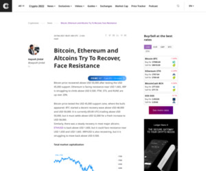 Bitcoin, Ethereum and Altcoins Try To Recover, Face Resistance