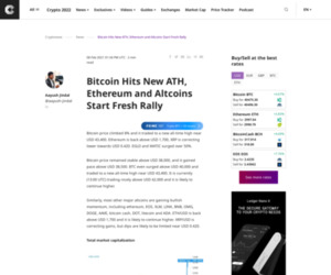 Bitcoin Hits New ATH, Ethereum and Altcoins Start Fresh Rally