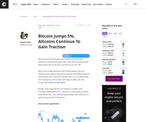 Bitcoin Jumps 5%, Altcoins Continue To Gain Traction