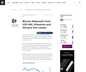 Bitcoin Rebounds From USD 45K, Ethereum and Altcoins Pair Losses